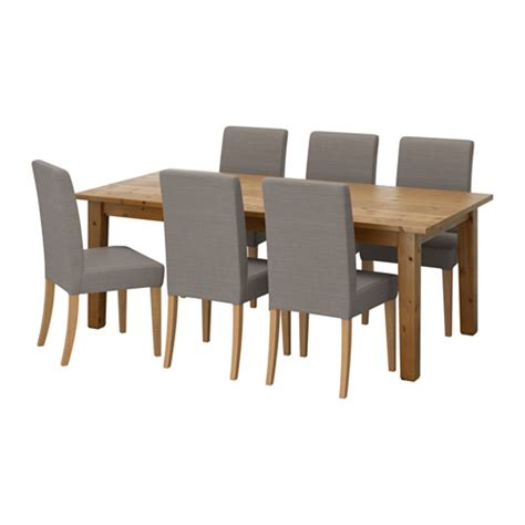 Ikea Dining Table And 6 Chairs Henriksdal Storn 196 S Table And 6 Chairs Antique Stain Nolhaga Grey Beige 201 Cm Ikea