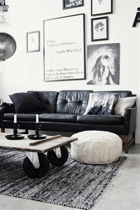 Living Room With Black Leather Sofa How To Decorate A Living Room With A Black Leather Sofa Decoholic