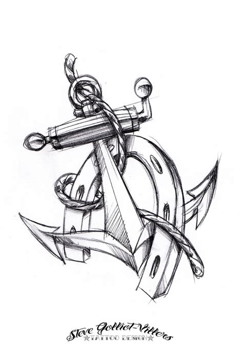 anchor and horseshoe tattoo sketch by stevegolliotvillers