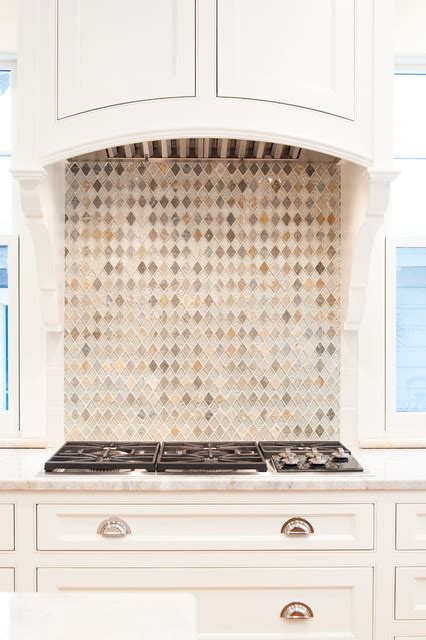 beautiful glass tile backsplash in this high end kitchen