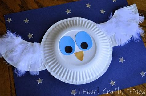Owl Paper Plate Craft - paper plate owl craft to follow up the white owl by