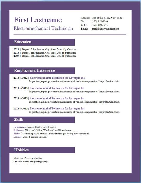 Free Resume Template For Word 2010 by Free Resume Templates For Microsoft Word 2010 Gfyork