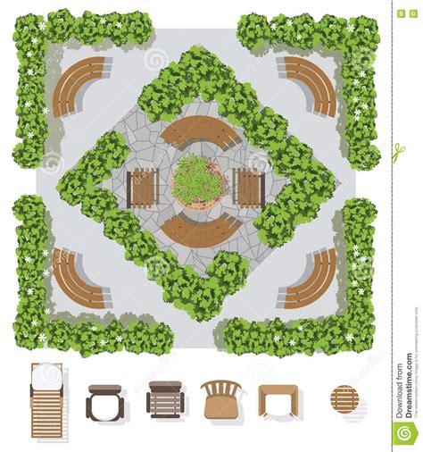 landscape design elements vector illustration landscape design composition with top view gardening stock