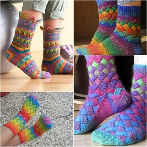entrelac knitting tutorial diy rainbow color patch entrelac knitting socks with