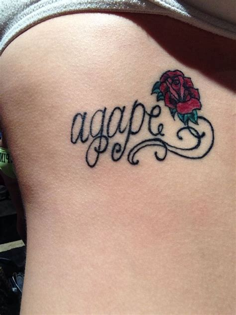 agape tattoo agape with a on my ribs hair and