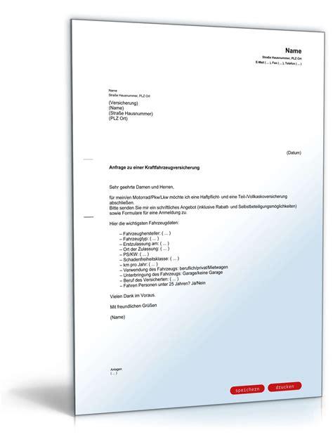 Kfz Versicherung K Ndigen Leasing by Anfrage Kfz Versicherung Vorlage Zum