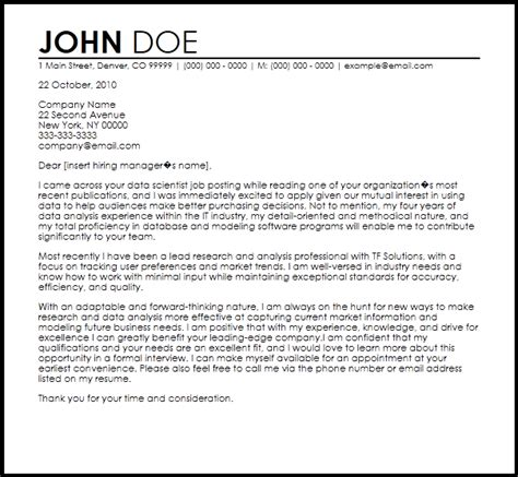data scientist cover letter templates cover letter