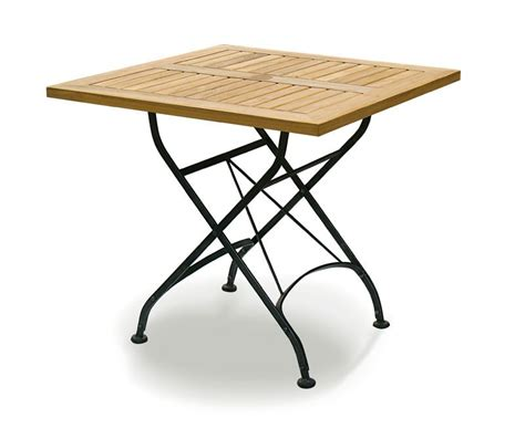 Bistro Square 0.8m Table & 4 Chairs Teak & Metal Folding