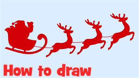 how to draw santa claus flying with christmas deers step