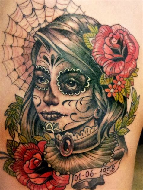 40 Eye Catching Day Of The Dead Tattoos Faces Skulls Day Of The Dead Tattoos