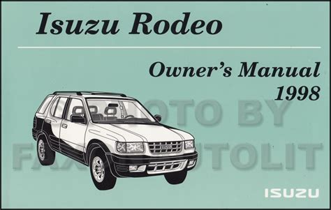 service manuals schematics 1994 isuzu rodeo electronic toll collection 1994 1995 isuzu rodeo honda passport repair shop manual original