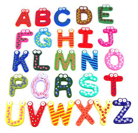 fun l funky fun colorful magnetic letters a z wooden fridge