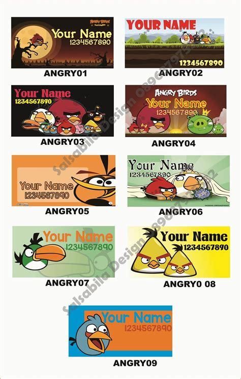 desain kartu nama kosongan sticker stiker label nama angry bird jasa desain