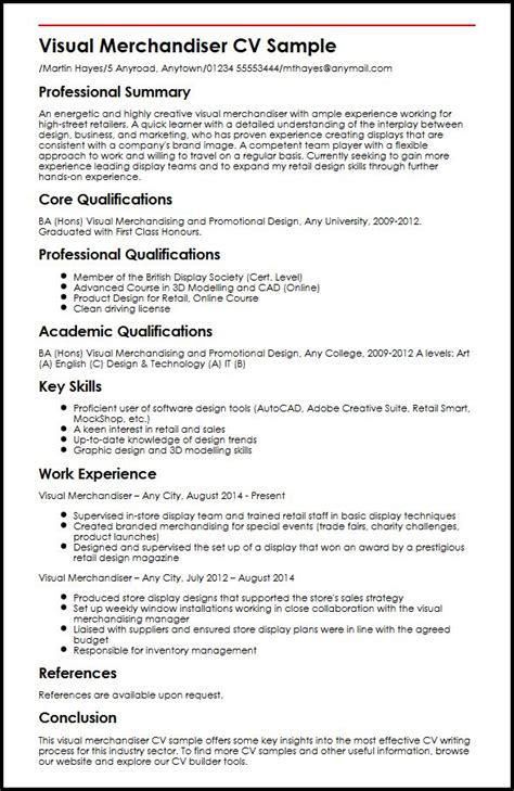 free sle resume for visual merchandiser visual merchandiser cv sle myperfectcv
