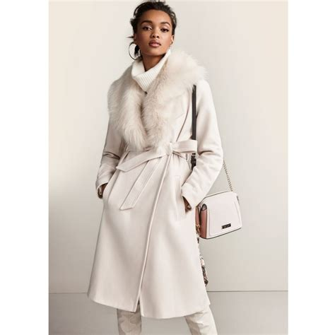 Faux Fur Collar Coat faux fur collar belted robe coat coats coats