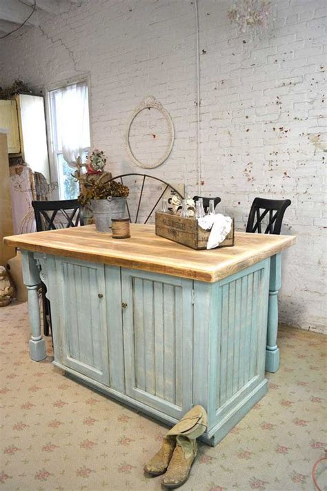 Shabby Chic Kitchen Island | painted cottage chic shabby hand made farmhouse kitchen island