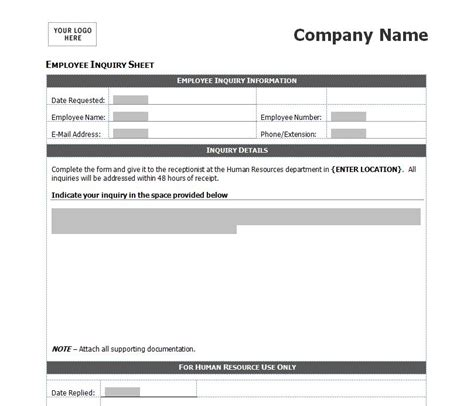 inquiry form template employee inquiry form employee inquiry form template