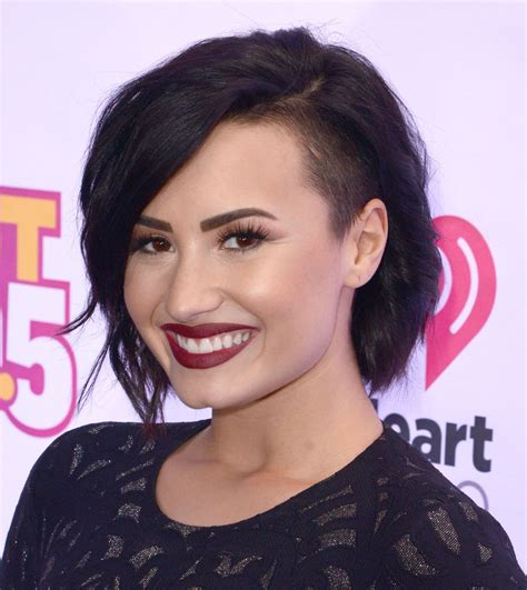 side shaved bob a chocolate bob with a buzzed side demi lovato hair