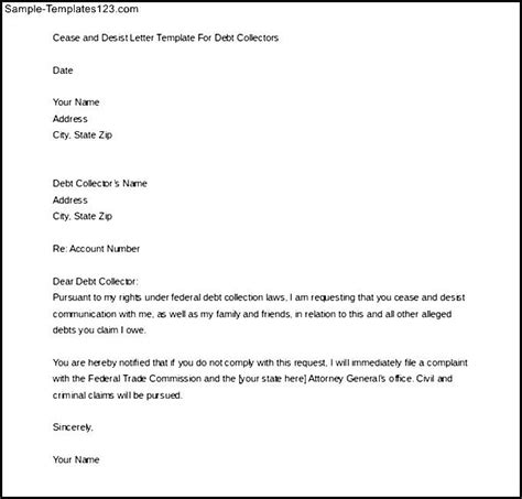 free debt collection cease and desist letter template