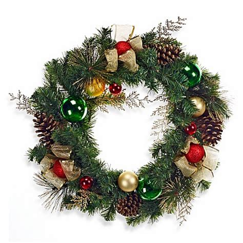 24 inch decorated holiday wreath bed bath beyond