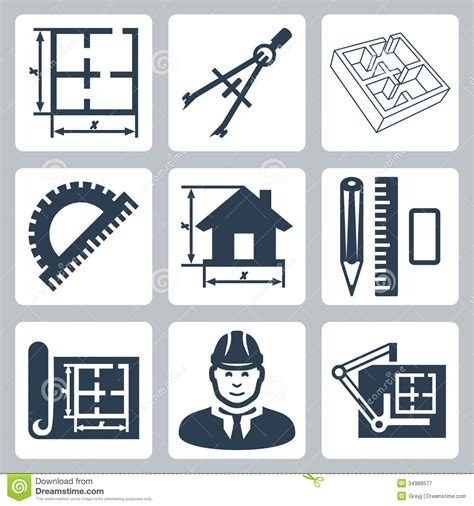 blueprint designer vector building design icons set royalty free stock