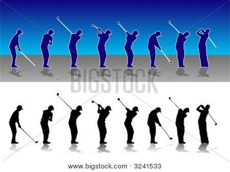 stages of golf swing picture or photo of silhouette illustration of the various