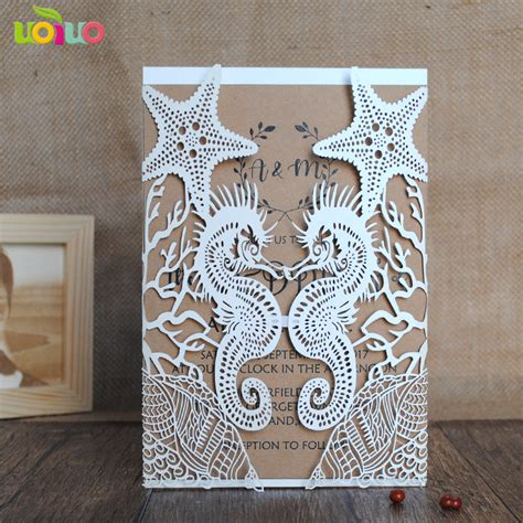 Wedding Invitation Decorations by Wedding Invitation Cards Seahorse And Shell Paper