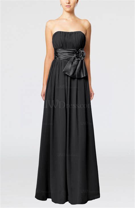 black plain column zipper chiffon floor length wedding