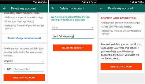 delete account from android how to permanently delete your whatsapp account in android