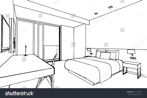 How To Draw Interior Perspective From Plan by Outline Sketch Drawing Perspective Interior Space Stock