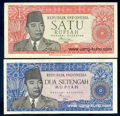 Uang Asli Dua Setengah Rupiah uang kuno 1964 seri sukarno