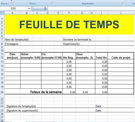 Modèle Emploi Du Temps Excel