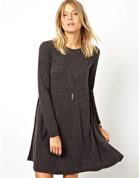 swing dress long sleeve black long sleeved swing dress asos