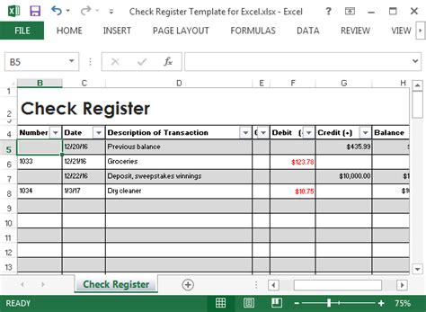 excel checkbook register template check register template for excel