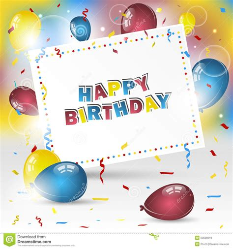happy birthday balloon design happy birthday background with confetti and balloons stock