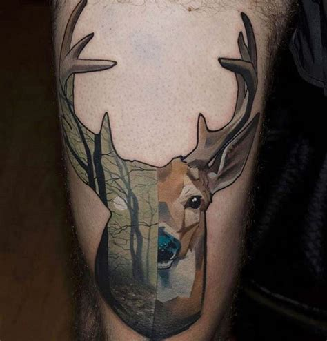 old colored deer tattoo stylized with dark forest
