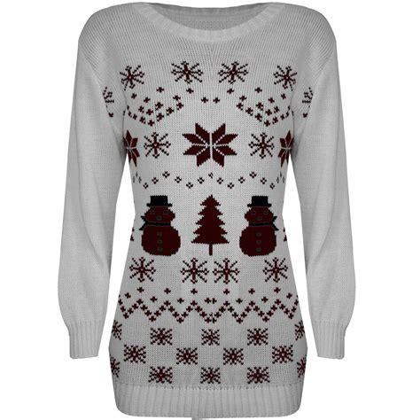womens ladies snowman xmas christmas tree knitted dress