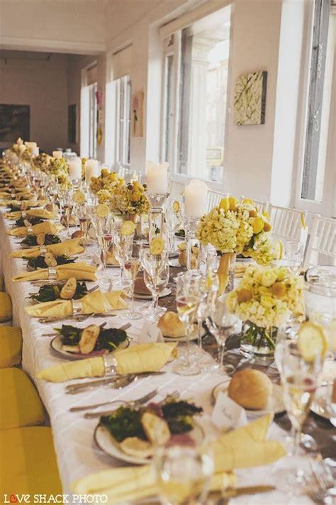 beautiful blooms lemon yellow white table decor wedding table