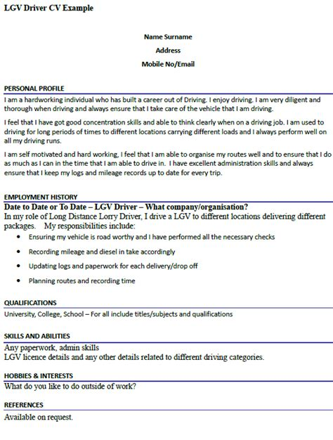 lgv driver cv example cover letters and cv examples