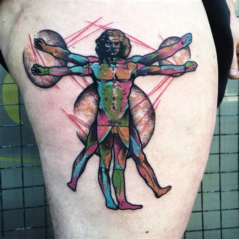 vitruvian man tattoo psychedelic vitruvian on the right thigh
