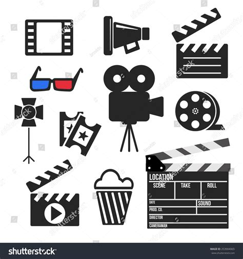production symbols set of cinema and production vector web