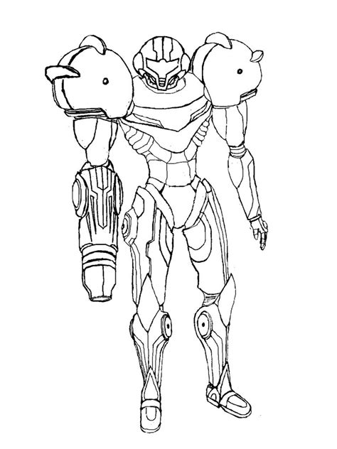 samus coloring pages sketch coloring page