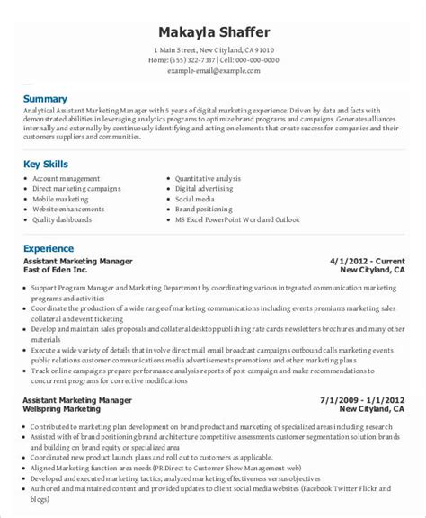Assistant Manager Resume Objective Sle by Marketing Resume Sle Marketing Resume Sle Pdf 28 Images