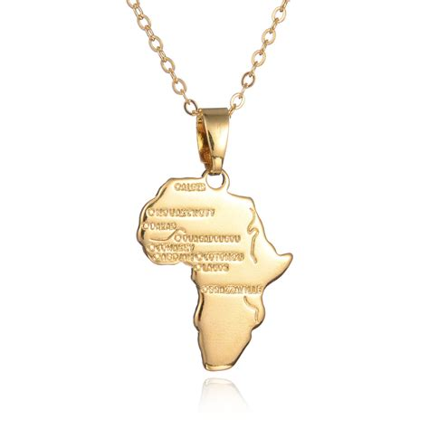 africa map necklace africa map pendant necklace 18k gold plated
