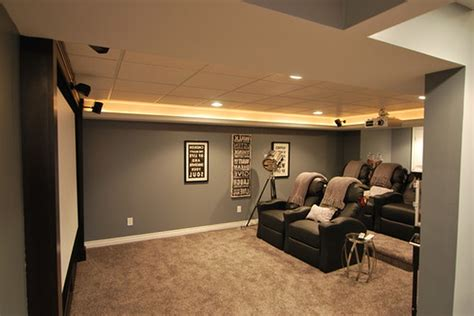 basement living room paint ideas amazing grey painted wall color schemes small basement ideas with black vinyl reclyning sofas as