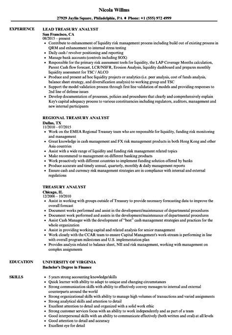 Treasury Analyst Sle Resume by Treasury Accountant Sle Resume Sle Email Resignation Letter