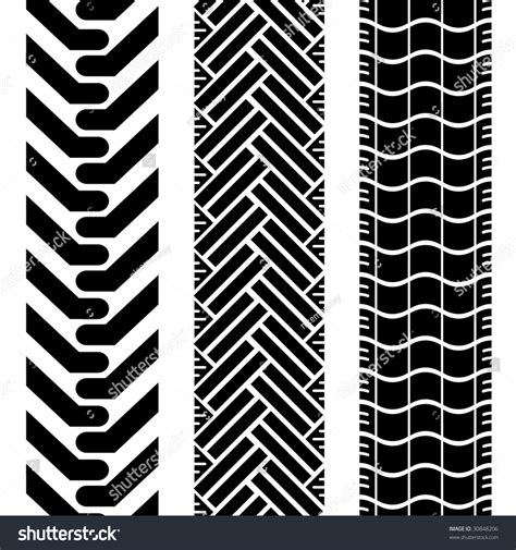 tire pattern brush collection tire treads black white repeat stock vector