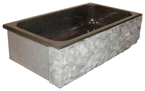 rustic kitchen sinks single bowl granite farm basin with chiseled apron 33 quot x19