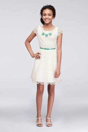 Baju Anak Perempuan Set Dress Lace Pink cap sleeve lace dress with necklace and belt david s bridal