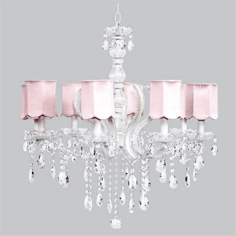 White Chandelier With Shades Eight Arm Pageant White Beaded Chandelier With Pink Scallop Shades